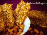 Peanut Candy/ Peanut Brittle/ Peanut Chikki with roasted sesame seeds