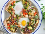Baked Tortilla Brunch – Eggs, Beans, Bacon, Avocado & Peppers