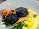 Black Pudding, Squash Puree, Pickled Carrot, Hazelnuts