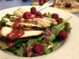 Raspberry & Grilled Chicken Salad {with Roasted Raspberry Balsamic Vinaigrette}