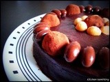 Chocolate Chiffon Cake covered with Ganache and Truffles