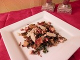 Crispy Brussels Sprouts with Bacon, Parmigiana and Hazelnuts