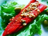 Crvena rog paprika punjena sirom :: Red horn peppers stuffed with cheese