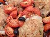 Baked chicken with tomatoes and olives for Nigel Slater Dish of the Month