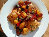 Chicken, potato and chorizo bake