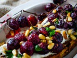 Baked grapes and whipped feta bruschetta