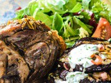 Lamb shanks with aubergine stacks