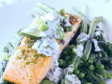 Seared Salmon On Minted Greens