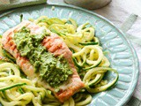 Seared Salmon With Courgetti And Pesto