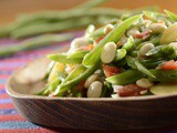 Chochos (lupini beans) and green bean salad