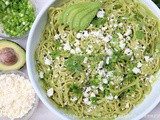 Pasta or spaghetti with avocado sauce