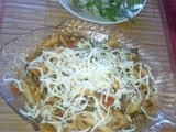 Lazy cooks penne with mushrooms and sausages
