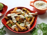 Baked batata harra fries with eggplant dip recipe