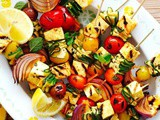 Bbq haloumi and vegetable kebabs recipe