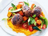 Beef kibbeh with roasted pumpkin hummus recipe