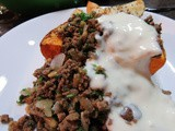 Butternut Squash With Lebanese Spiced Ground Beef and Garlic Yog recipe