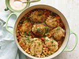Chicken and Chickpea Tagine with Apricots and Harissa Sauce Recipe