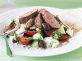 Cumin lamb with tomato, cucumber and goats feta recipe