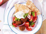 Falafels with tomato salad and tzatziki