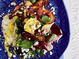 Hummus, pumpkin, beetroot and seeds with turmeric dressing recipe