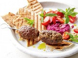Lamb kofte with beetroot hummus recipe