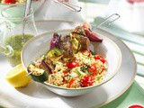 Lemon and mint lamb kebabs with couscous salad recipe