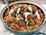 Middle Eastern lamb koftas with aromatic lentil rice recipe