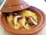 Middle Eastern turkey tagine with carrot couscous and rose petals recipe