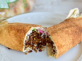 Mujadara pita roll up