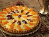 Oat tart with bechamel and apricot jam and dates recipe