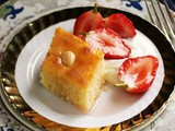 Semolina cake with strawberries in rose syrup (Basbousa) recipe
