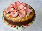 Semolina Coconut Cake with Sugared Rose Petals Recipe