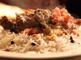 Slow cooked lamb with fetta and tomatoes, pilaf and fatoush salad recipe