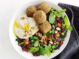 Speedy falafel and black rice tabouli bowl