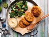 Sweet potato latkes with Middle Eastern salad and hummus recipe