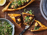 Turkish pide with green tabouli