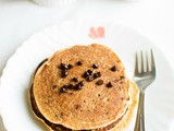 Chocolate chip pancakes - eggless wheat pancakes