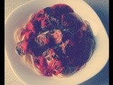 Spaghetti with Home-Made Sausages & Basil Tomato Sauce