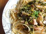 Spaghetti au cresson et au saumon / Spaghetti with Watercress and Salmon
