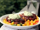 Black Bean Patties with Corn Relish and Avocado Cream