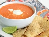 Creamy Roasted Red Pepper Soup with Cilantro-Lime Sour Cream