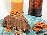 Double Dark Chocolate, Caramel, and Pretzel Crunch Ice Cream Cake