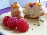 Peach Melba and Pistachio Mini Upside Down Cakes