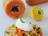 Fruit + vegetable salad with white chocolate mousse