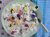 #guilt-free potato salad with edible flowers
