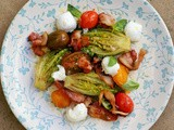 Warm #blt salad with mozzarella + basil + red wine vinegar