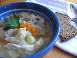 "Chicken and dumpling soup: Estonian ""kana-klimbisupp"""