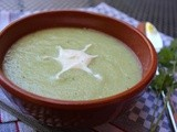 Cold cucumber and melon soup with a hint of chilli