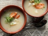 Winter: White swede (rutabaga) and celeriac soup with or without fish