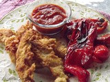 ~ Fried Chicken Strips, Fried Red Bell Pepper Salad, Orange -Tomato Dipping Sauce ~